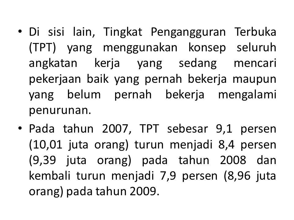 Di sisi lain, Tingkat Pengangguran Terbuka (TPT) yang menggunakan konsep seluruh angkatan kerja yang sedang mencari pekerjaan baik yang pernah bekerja