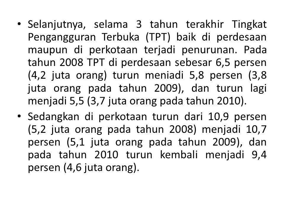 Selanjutnya, selama 3 tahun terakhir Tingkat Pengangguran Terbuka (TPT) baik di perdesaan maupun di perkotaan terjadi penurunan. Pada tahun 2008 TPT d