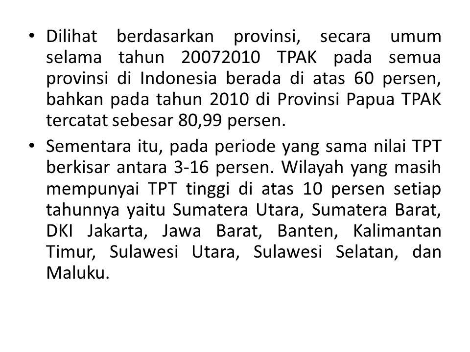 Dilihat berdasarkan provinsi, secara umum selama tahun 20072010 TPAK pada semua provinsi di Indonesia berada di atas 60 persen, bahkan pada tahun 201
