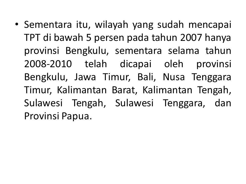 Sementara itu, wilayah yang sudah mencapai TPT di bawah 5 persen pada tahun 2007 hanya provinsi Bengkulu, sementara selama tahun 2008-2010 telah dicap