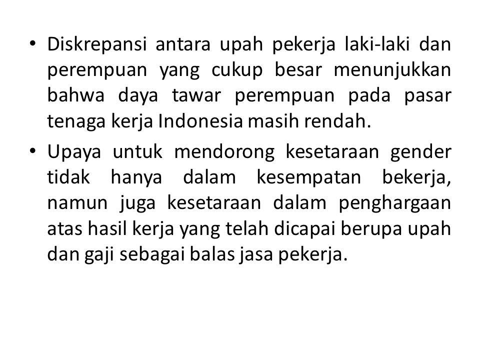 Diskrepansi antara upah pekerja laki-laki dan perempuan yang cukup besar menunjukkan bahwa daya tawar perempuan pada pasar tenaga kerja Indonesia masi