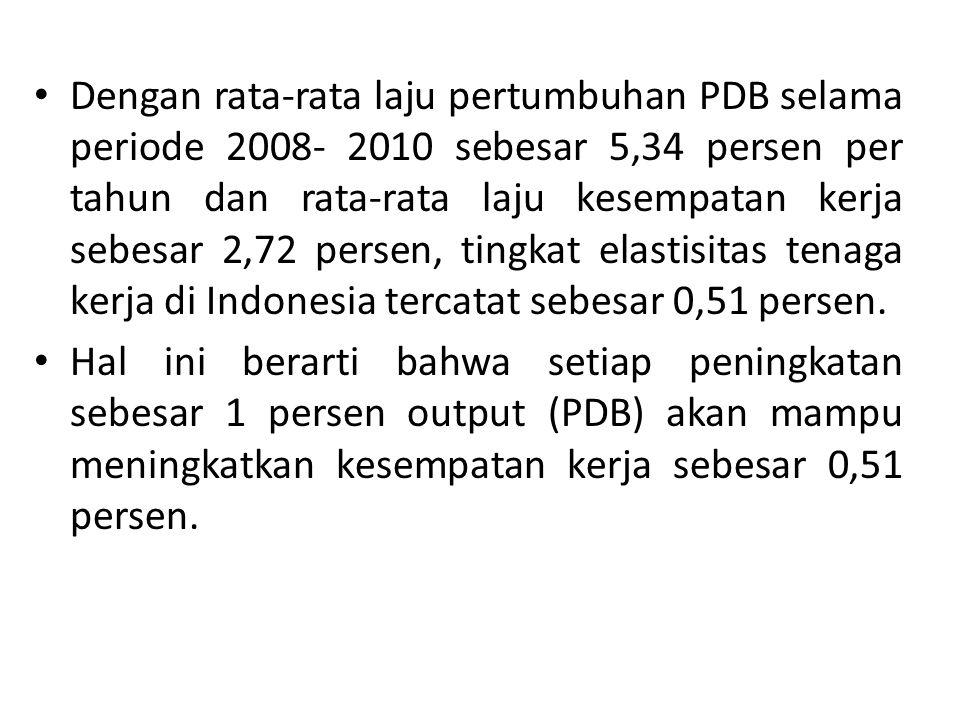 Dengan rata-rata laju pertumbuhan PDB selama periode 2008- 2010 sebesar 5,34 persen per tahun dan rata-rata laju kesempatan kerja sebesar 2,72 persen,