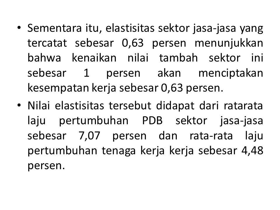 Sementara itu, elastisitas sektor jasa-jasa yang tercatat sebesar 0,63 persen menunjukkan bahwa kenaikan nilai tambah sektor ini sebesar 1 persen akan