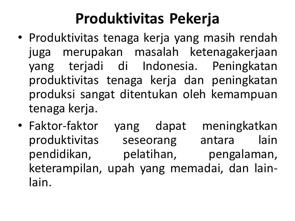 Produktivitas Pekerja Produktivitas tenaga kerja yang masih rendah juga merupakan masalah ketenagakerjaan yang terjadi di Indonesia. Peningkatan produ