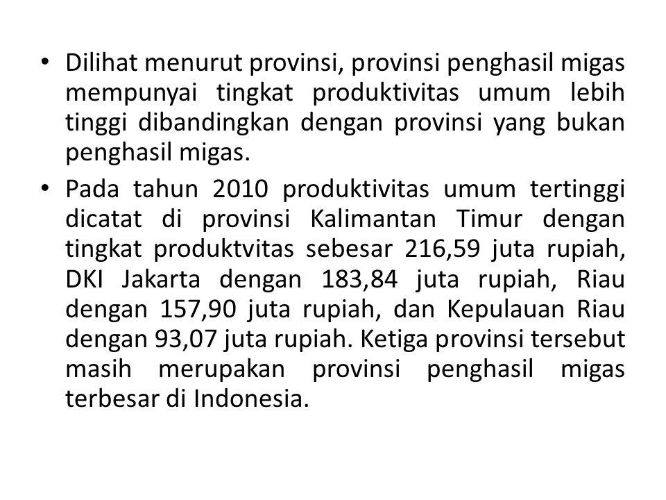 Dilihat menurut provinsi, provinsi penghasil migas mempunyai tingkat produktivitas umum lebih tinggi dibandingkan dengan provinsi yang bukan penghasil