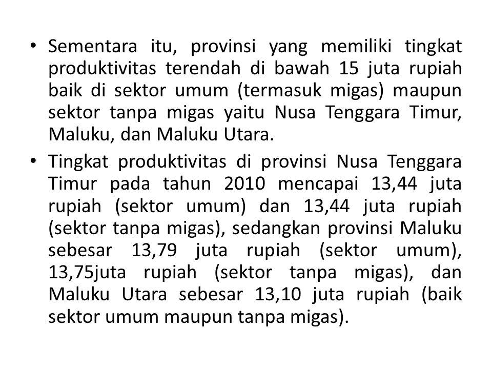 Sementara itu, provinsi yang memiliki tingkat produktivitas terendah di bawah 15 juta rupiah baik di sektor umum (termasuk migas) maupun sektor tanpa