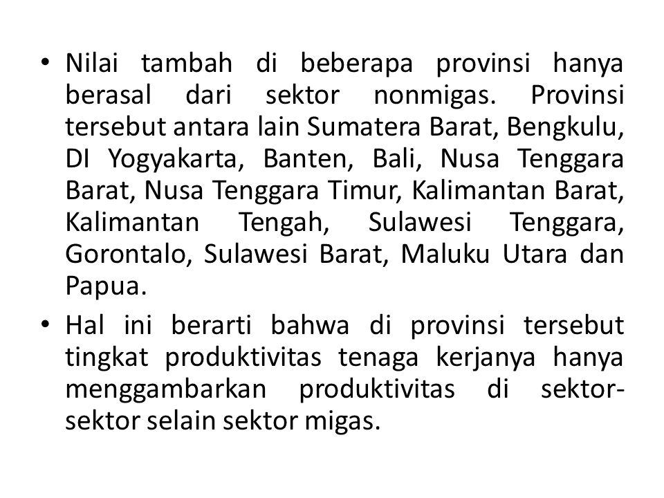 Nilai tambah di beberapa provinsi hanya berasal dari sektor nonmigas. Provinsi tersebut antara lain Sumatera Barat, Bengkulu, DI Yogyakarta, Banten,
