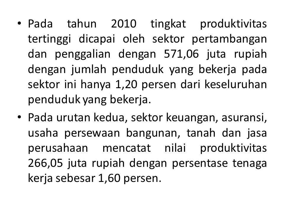 Pada tahun 2010 tingkat produktivitas tertinggi dicapai oleh sektor pertambangan dan penggalian dengan 571,06 juta rupiah dengan jumlah penduduk yang