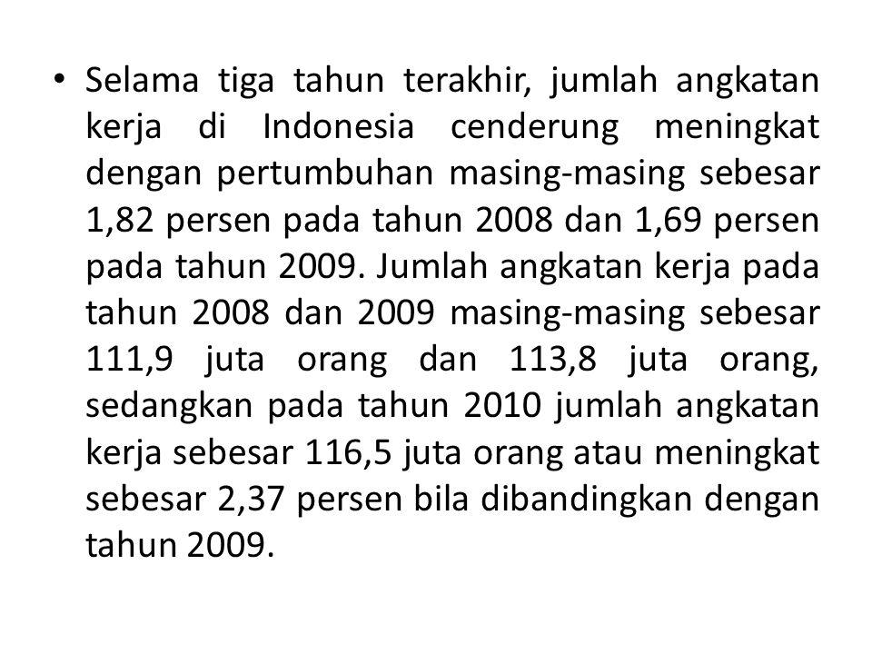Selama tiga tahun terakhir, jumlah angkatan kerja di Indonesia cenderung meningkat dengan pertumbuhan masing-masing sebesar 1,82 persen pada tahun 200