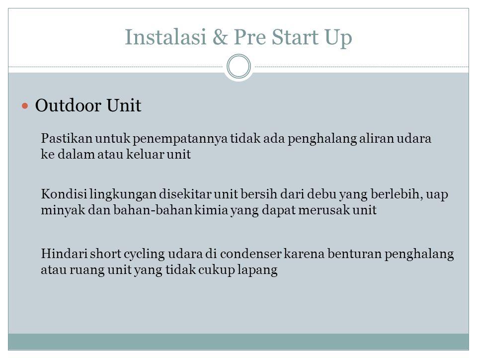 Instalasi & Pre Start Up Outdoor Unit Pastikan untuk penempatannya tidak ada penghalang aliran udara ke dalam atau keluar unit Kondisi lingkungan dise