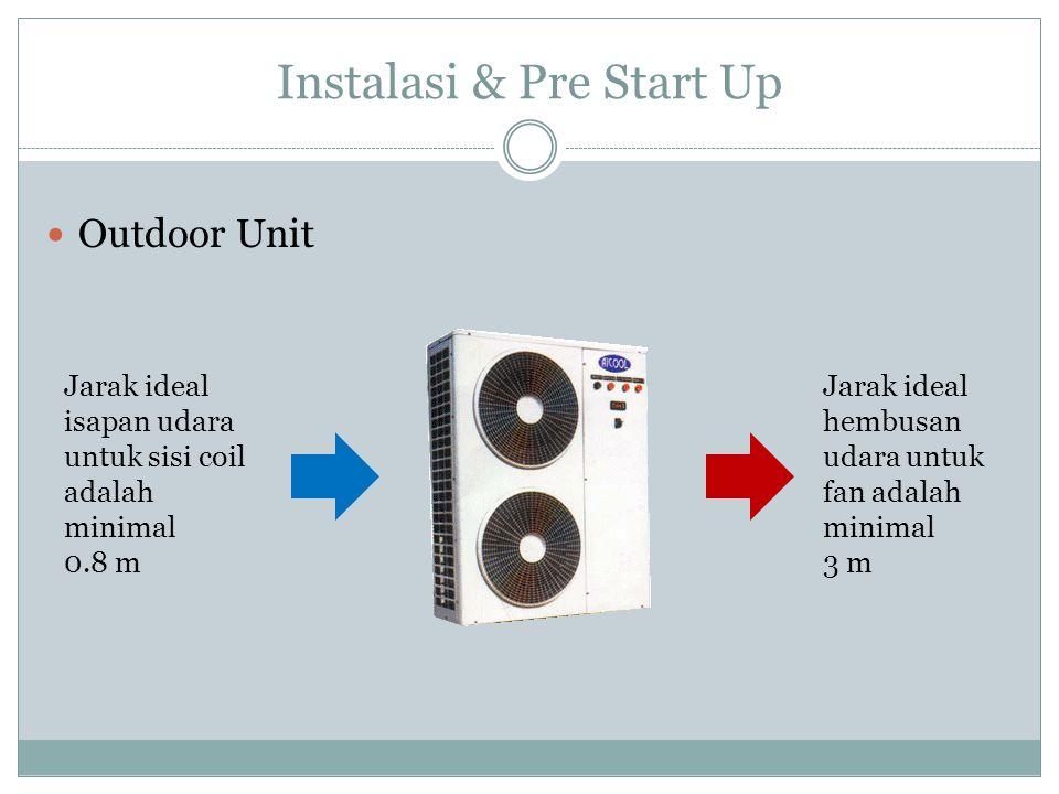 Instalasi & Pre Start Up Outdoor Unit Jarak ideal isapan udara untuk sisi coil adalah minimal 0.8 m Jarak ideal hembusan udara untuk fan adalah minima