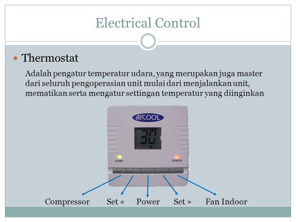 Electrical Control Thermostat Adalah pengatur temperatur udara, yang merupakan juga master dari seluruh pengoperasian unit mulai dari menjalankan unit