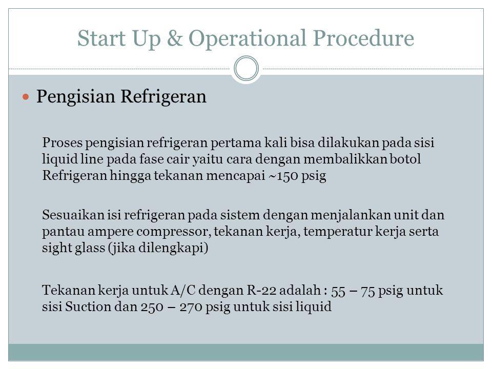 Start Up & Operational Procedure Pengisian Refrigeran Proses pengisian refrigeran pertama kali bisa dilakukan pada sisi liquid line pada fase cair yai