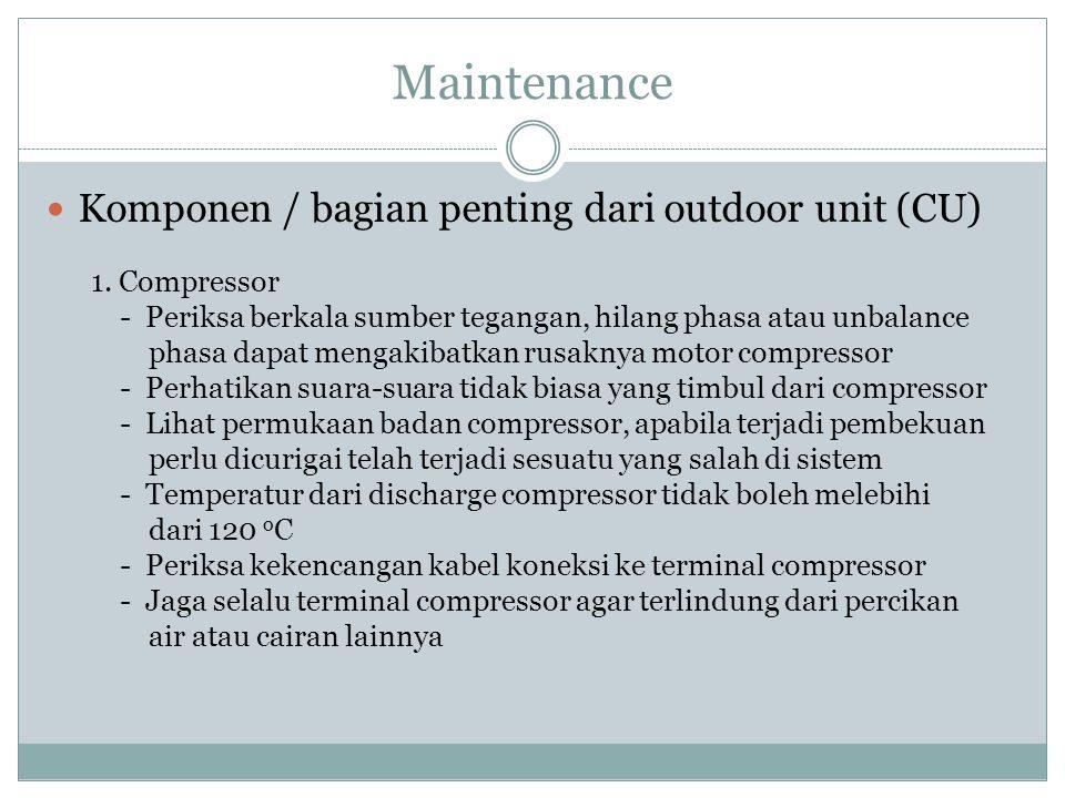 Maintenance Komponen / bagian penting dari outdoor unit (CU) 1. Compressor - Periksa berkala sumber tegangan, hilang phasa atau unbalance phasa dapat