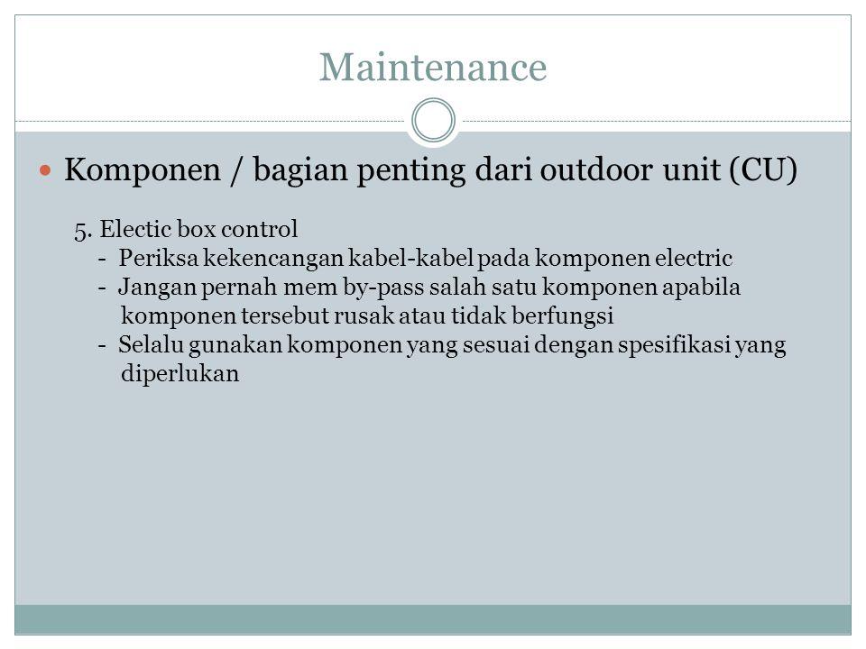 Maintenance Komponen / bagian penting dari outdoor unit (CU) 5. Electic box control - Periksa kekencangan kabel-kabel pada komponen electric - Jangan