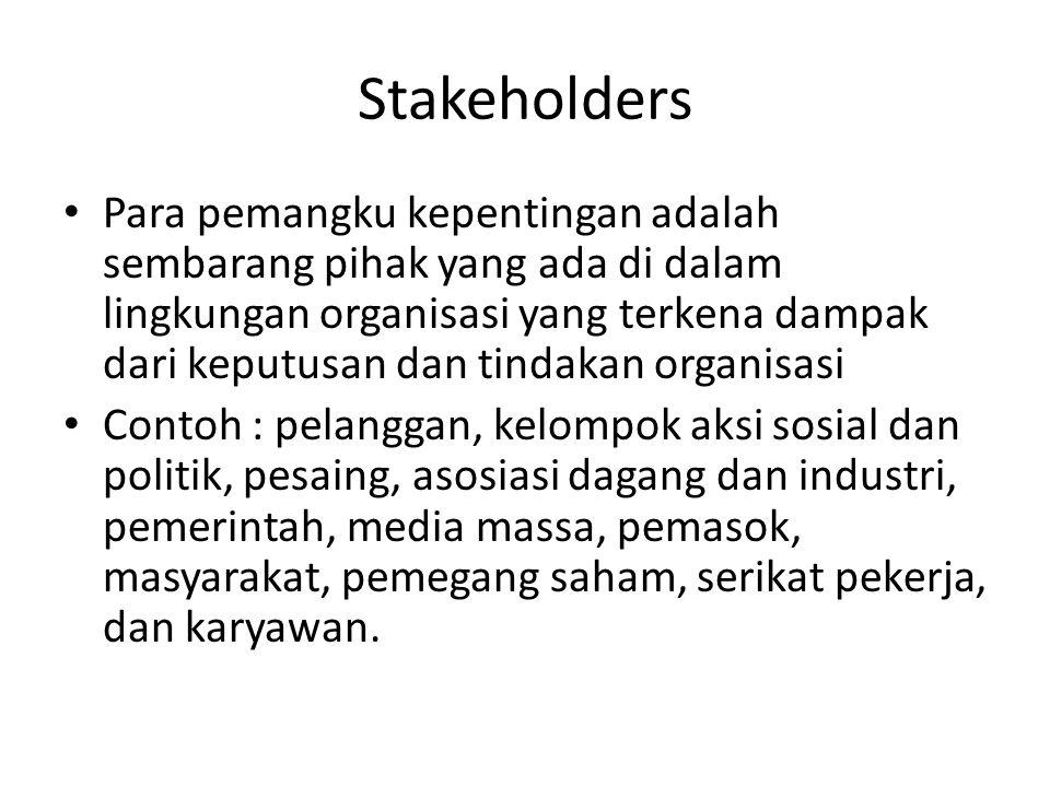 Stakeholders Para pemangku kepentingan adalah sembarang pihak yang ada di dalam lingkungan organisasi yang terkena dampak dari keputusan dan tindakan organisasi Contoh : pelanggan, kelompok aksi sosial dan politik, pesaing, asosiasi dagang dan industri, pemerintah, media massa, pemasok, masyarakat, pemegang saham, serikat pekerja, dan karyawan.
