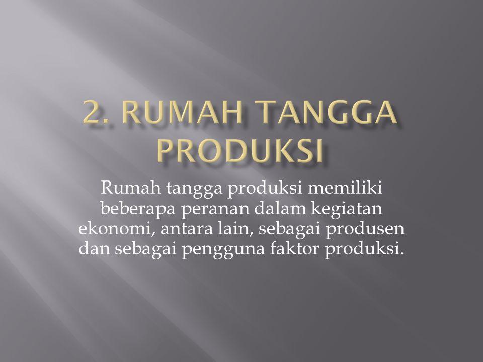 Rumah tangga produksi memiliki beberapa peranan dalam kegiatan ekonomi, antara lain, sebagai produsen dan sebagai pengguna faktor produksi.