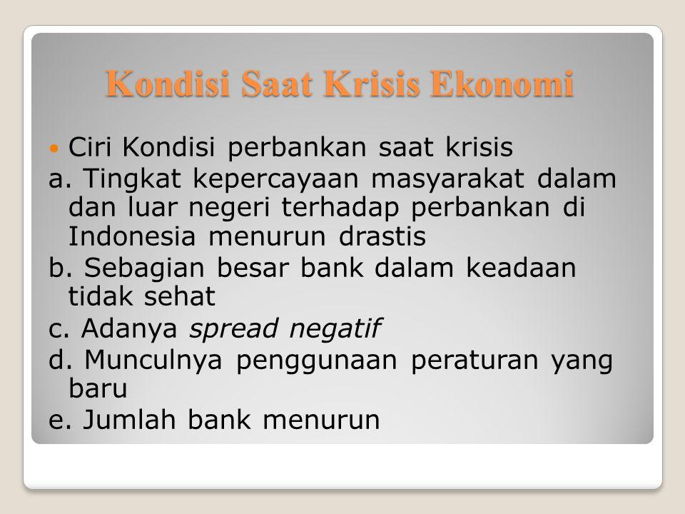 Kondisi Saat Krisis Ekonomi Ciri Kondisi perbankan saat krisis a.