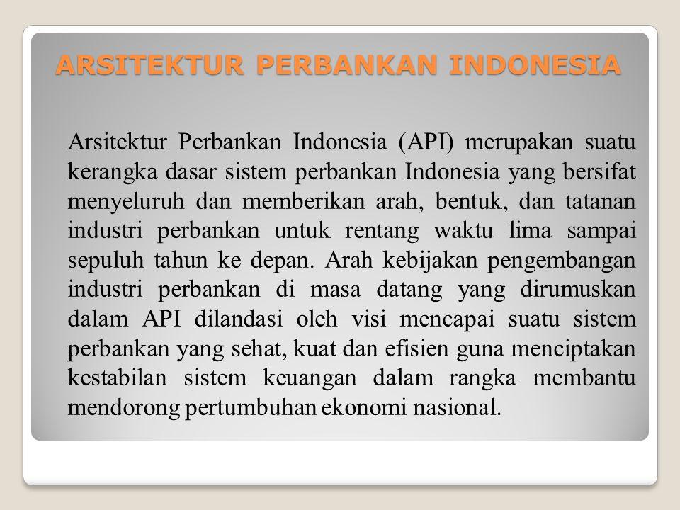 ARSITEKTUR PERBANKAN INDONESIA Arsitektur Perbankan Indonesia (API) merupakan suatu kerangka dasar sistem perbankan Indonesia yang bersifat menyeluruh dan memberikan arah, bentuk, dan tatanan industri perbankan untuk rentang waktu lima sampai sepuluh tahun ke depan.