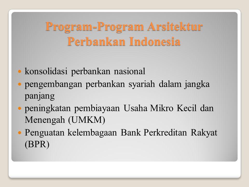 Program-Program Arsitektur Perbankan Indonesia konsolidasi perbankan nasional pengembangan perbankan syariah dalam jangka panjang peningkatan pembiayaan Usaha Mikro Kecil dan Menengah (UMKM) Penguatan kelembagaan Bank Perkreditan Rakyat (BPR)