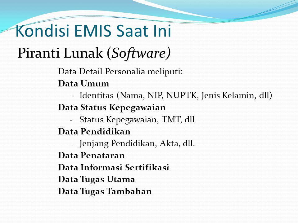 Kondisi EMIS Saat Ini Data Detail Personalia meliputi: Data Umum - Identitas (Nama, NIP, NUPTK, Jenis Kelamin, dll) Data Status Kepegawaian - Status K