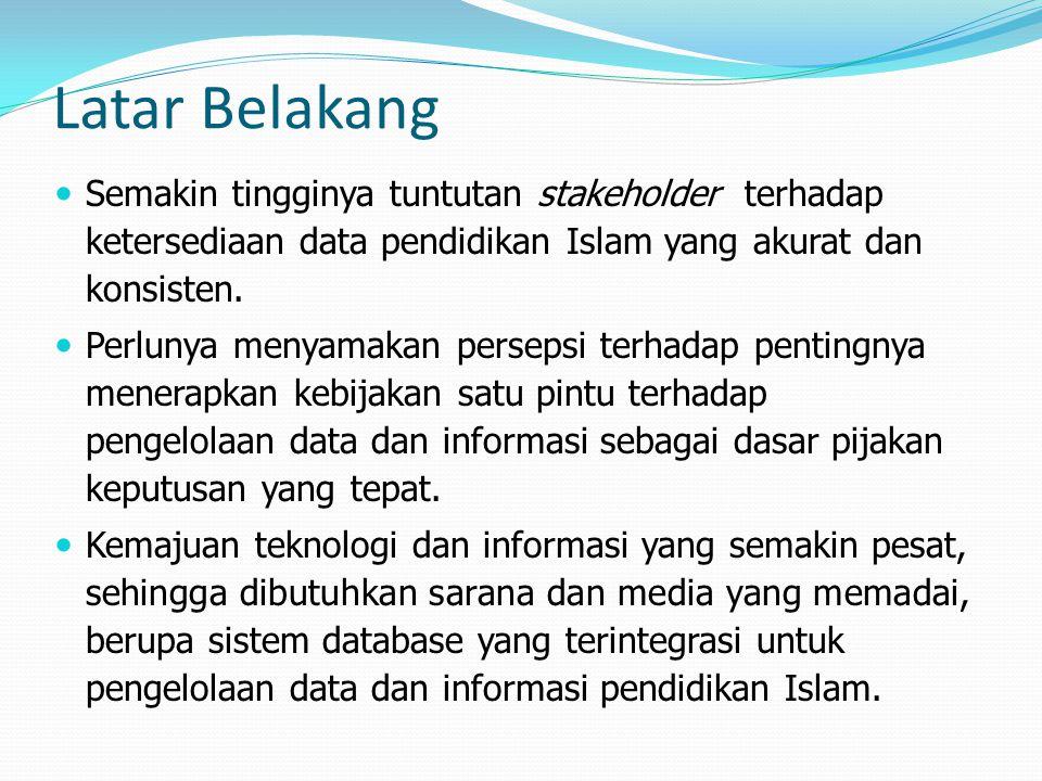 Latar Belakang Semakin tingginya tuntutan stakeholder terhadap ketersediaan data pendidikan Islam yang akurat dan konsisten. Perlunya menyamakan perse