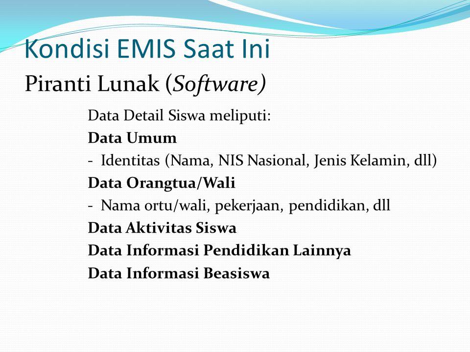 Kondisi EMIS Saat Ini Data Detail Siswa meliputi: Data Umum - Identitas (Nama, NIS Nasional, Jenis Kelamin, dll) Data Orangtua/Wali - Nama ortu/wali,