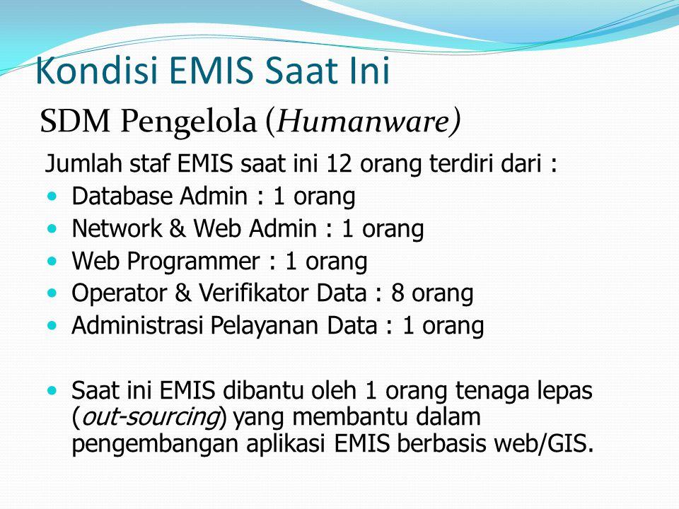 Kondisi EMIS Saat Ini Jumlah staf EMIS saat ini 12 orang terdiri dari : Database Admin : 1 orang Network & Web Admin : 1 orang Web Programmer : 1 oran