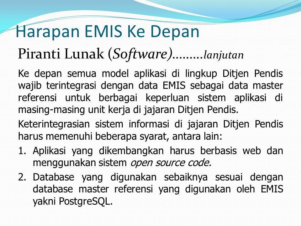 Harapan EMIS Ke Depan Ke depan semua model aplikasi di lingkup Ditjen Pendis wajib terintegrasi dengan data EMIS sebagai data master referensi untuk b