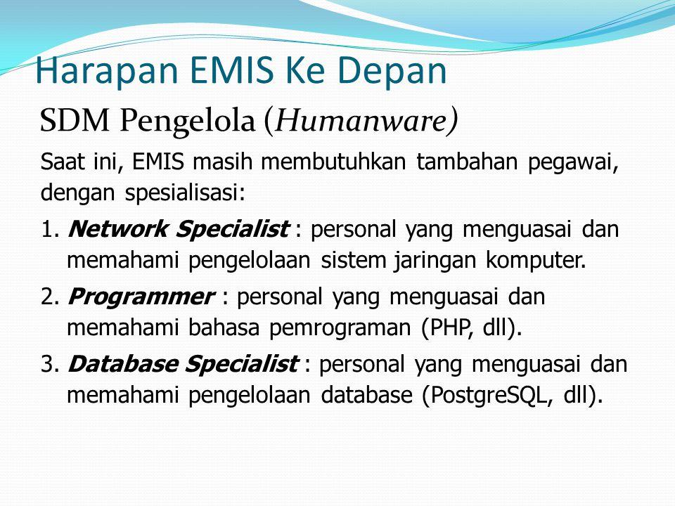 Harapan EMIS Ke Depan Saat ini, EMIS masih membutuhkan tambahan pegawai, dengan spesialisasi: 1.Network Specialist : personal yang menguasai dan memah