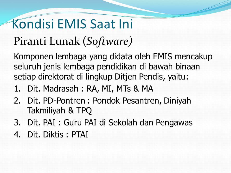 Kondisi EMIS Saat Ini Komponen lembaga yang didata oleh EMIS mencakup seluruh jenis lembaga pendidikan di bawah binaan setiap direktorat di lingkup Di