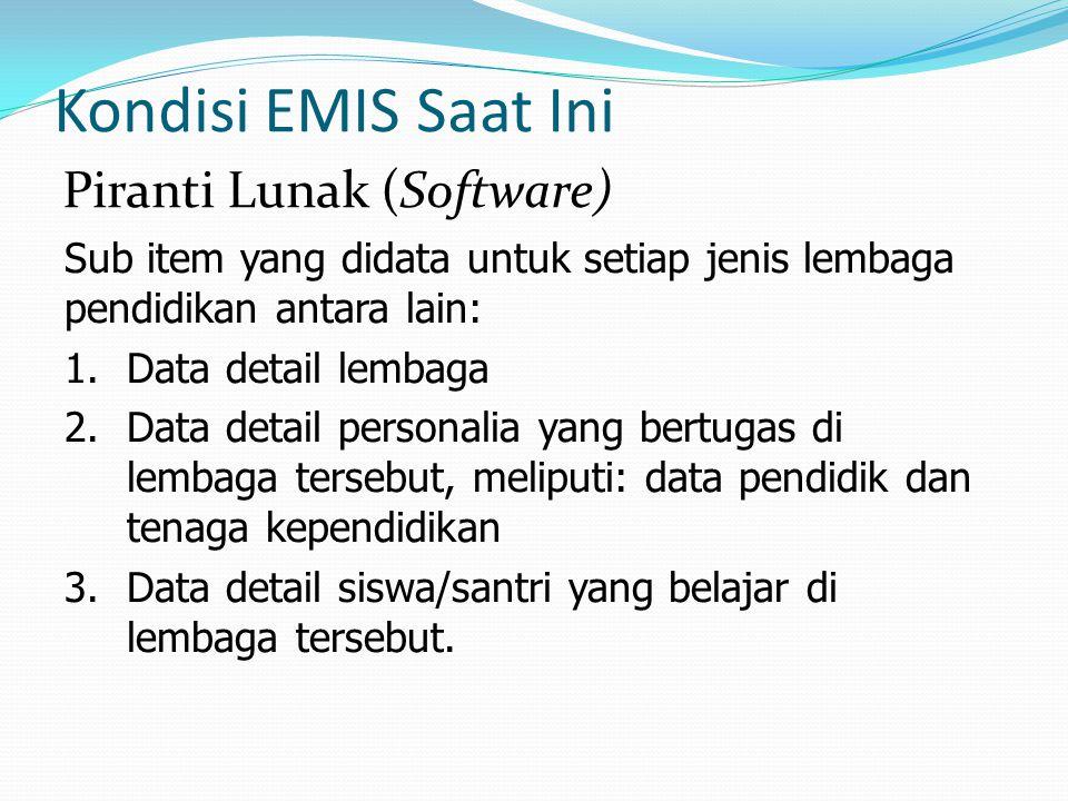Kondisi EMIS Saat Ini Sub item yang didata untuk setiap jenis lembaga pendidikan antara lain: 1.Data detail lembaga 2.Data detail personalia yang bert