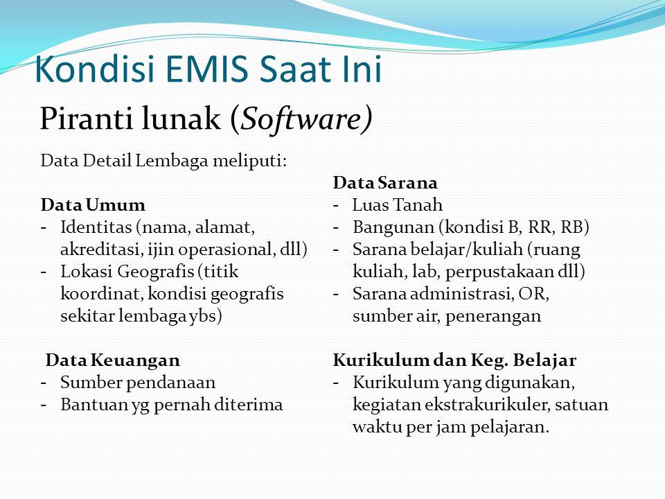 Harapan EMIS Ke Depan -Piranti lunak yang saat ini dibangun oleh EMIS membutuhkan pengembangan lebih lanjut, baik untuk model aplikasi pendataan maupun untuk model publikasi hasil pendataan.