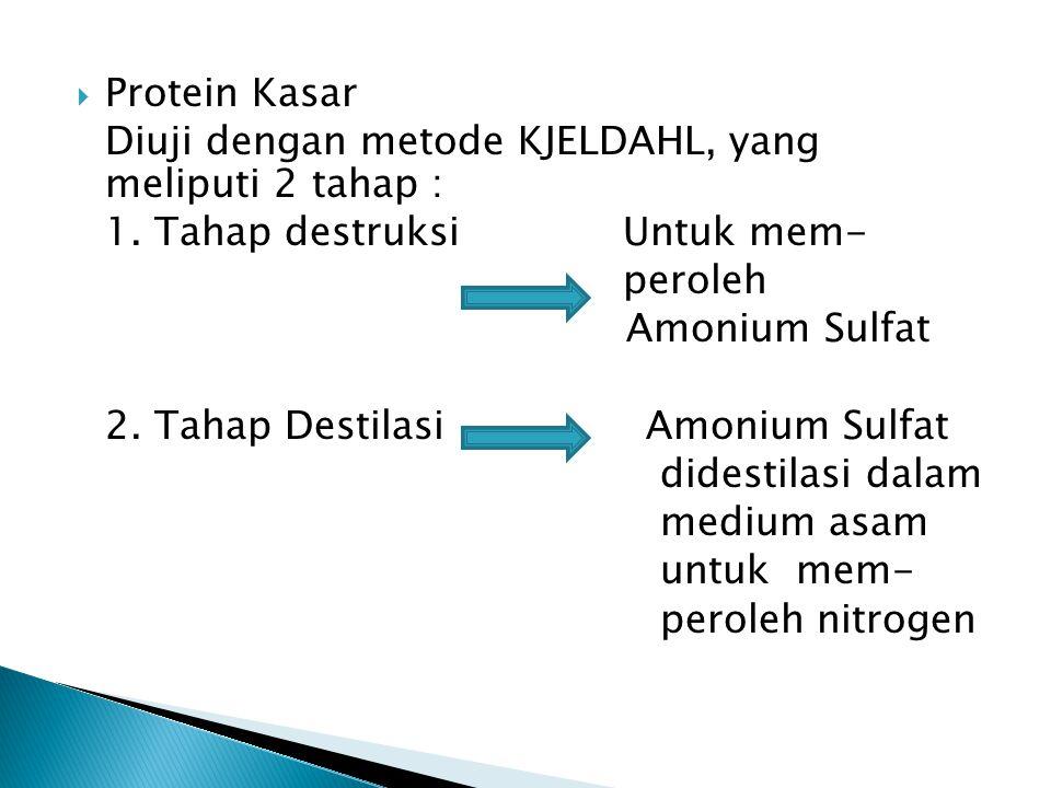 Protein Kasar Diuji dengan metode KJELDAHL, yang meliputi 2 tahap : 1.