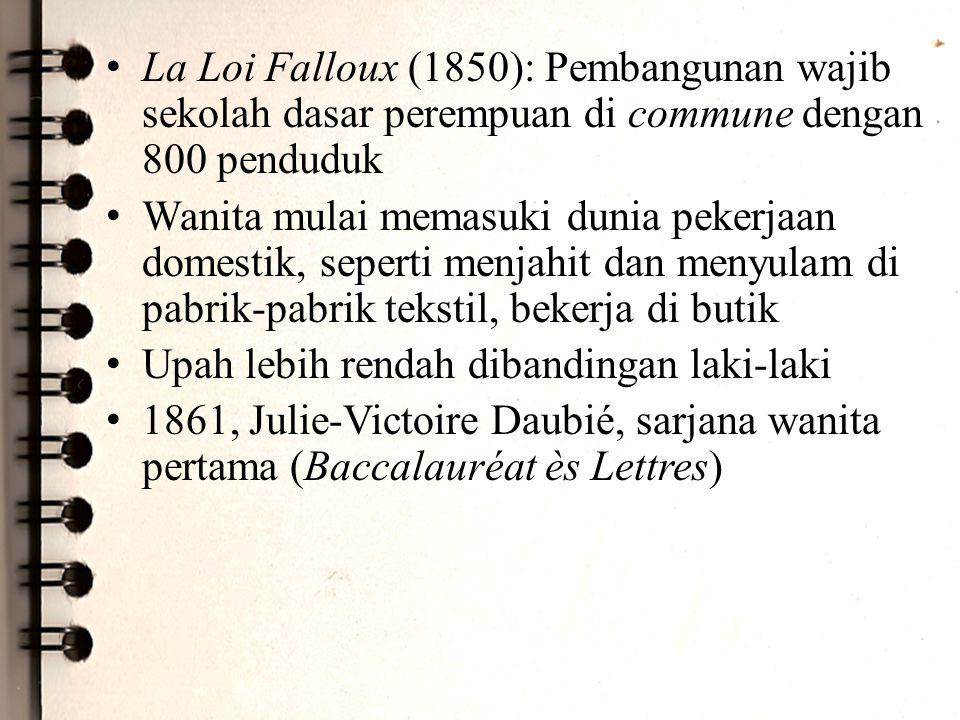 La Loi Falloux (1850): Pembangunan wajib sekolah dasar perempuan di commune dengan 800 penduduk Wanita mulai memasuki dunia pekerjaan domestik, sepert