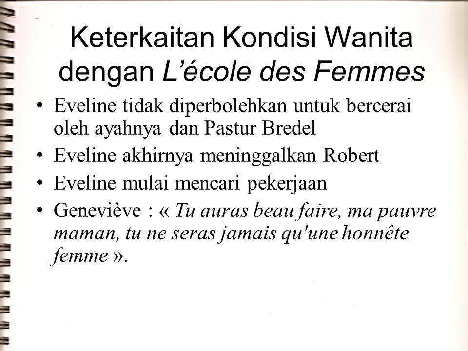 Keterkaitan Kondisi Wanita dengan L'école des Femmes Eveline tidak diperbolehkan untuk bercerai oleh ayahnya dan Pastur Bredel Eveline akhirnya mening