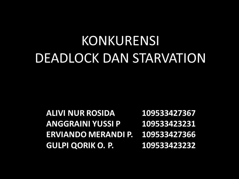 KONKURENSI DEADLOCK DAN STARVATION ALIVI NUR ROSIDA109533427367 ANGGRAINI YUSSI P109533423231 ERVIANDO MERANDI P.109533427366 GULPI QORIK O.