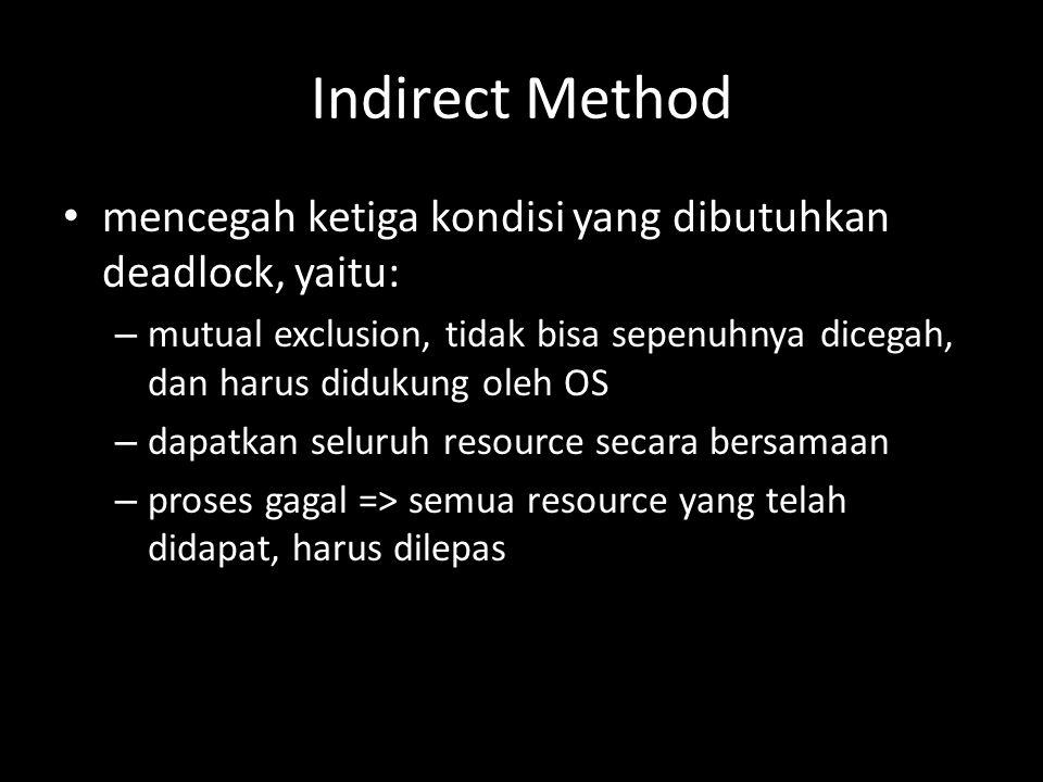Indirect Method mencegah ketiga kondisi yang dibutuhkan deadlock, yaitu: – mutual exclusion, tidak bisa sepenuhnya dicegah, dan harus didukung oleh OS – dapatkan seluruh resource secara bersamaan – proses gagal => semua resource yang telah didapat, harus dilepas