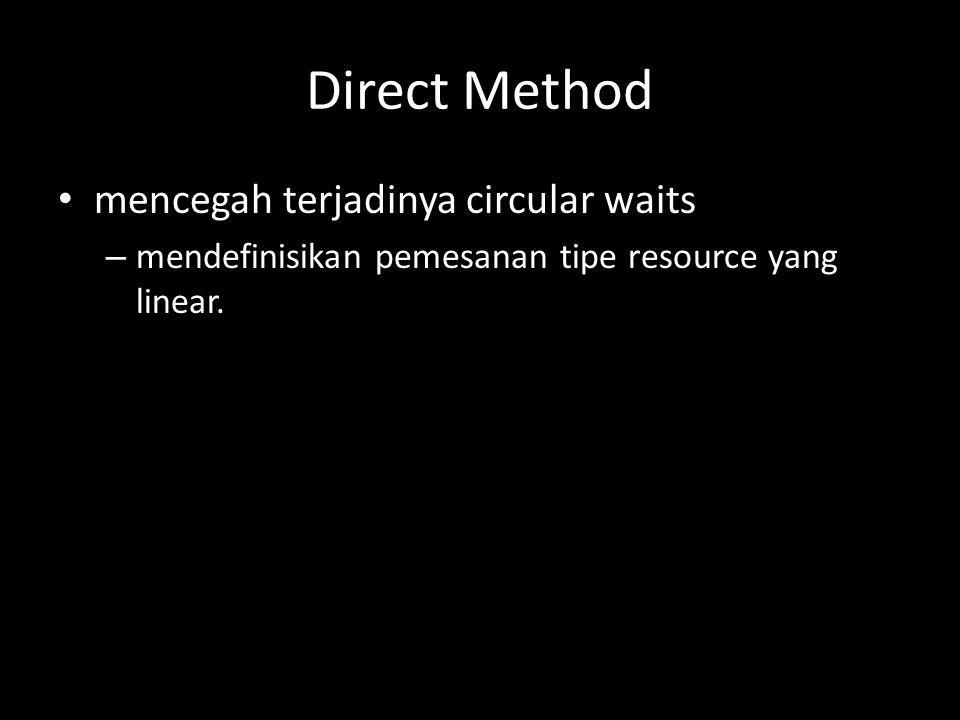 Direct Method mencegah terjadinya circular waits – mendefinisikan pemesanan tipe resource yang linear.
