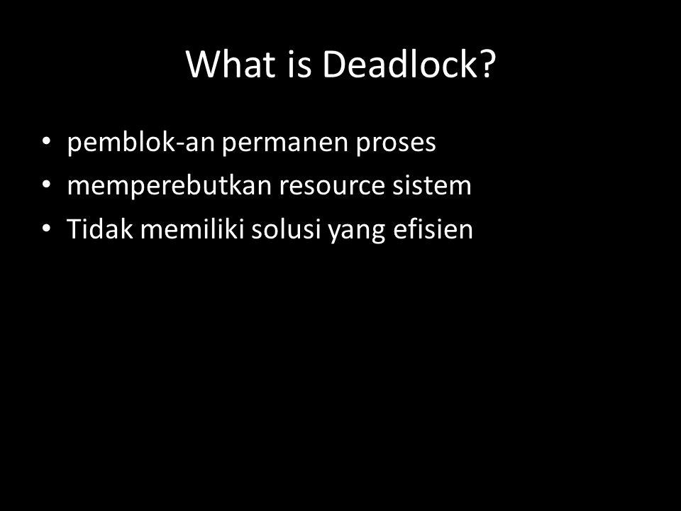 Strategi penanggulangan deadlock mempunyai kelemahan dan kelebihan masing- masing, daripada berusaha merancang fasilitas sistem operasi dengan satu strategi penanggulangan deadlock maka lebih efisien menggunakan strategi yang berbeda untuk situasi yang berbeda.
