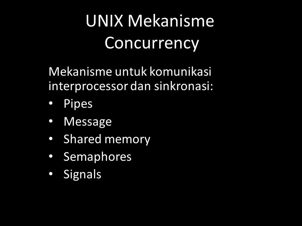 Mekanisme untuk komunikasi interprocessor dan sinkronasi: Pipes Message Shared memory Semaphores Signals