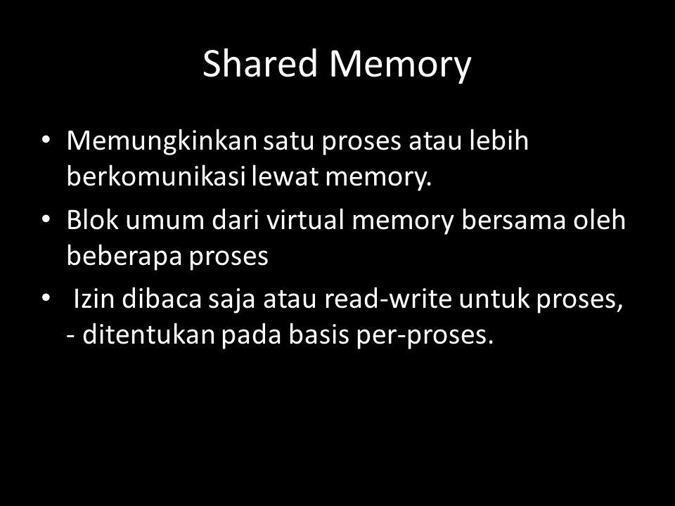 Shared Memory Memungkinkan satu proses atau lebih berkomunikasi lewat memory.