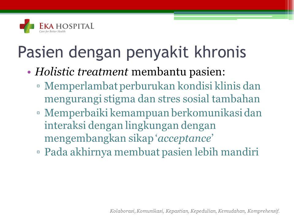 Kolaborasi, Komunikasi, Kepastian, Kepedulian, Kemudahan, Komprehensif. Pasien dengan penyakit khronis Holistic treatment membantu pasien: ▫Memperlamb