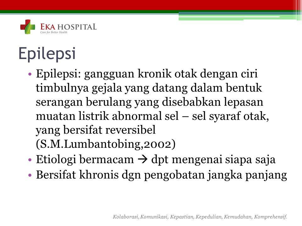 Kolaborasi, Komunikasi, Kepastian, Kepedulian, Kemudahan, Komprehensif. Epilepsi Epilepsi: gangguan kronik otak dengan ciri timbulnya gejala yang data