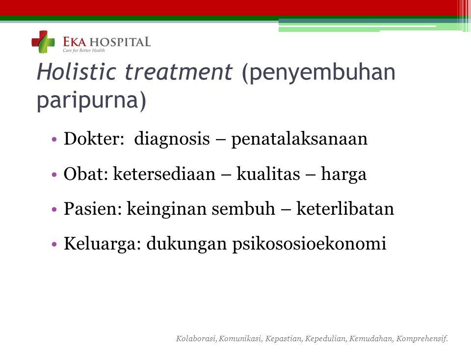 Kolaborasi, Komunikasi, Kepastian, Kepedulian, Kemudahan, Komprehensif. Holistic treatment (penyembuhan paripurna) Dokter: diagnosis – penatalaksanaan