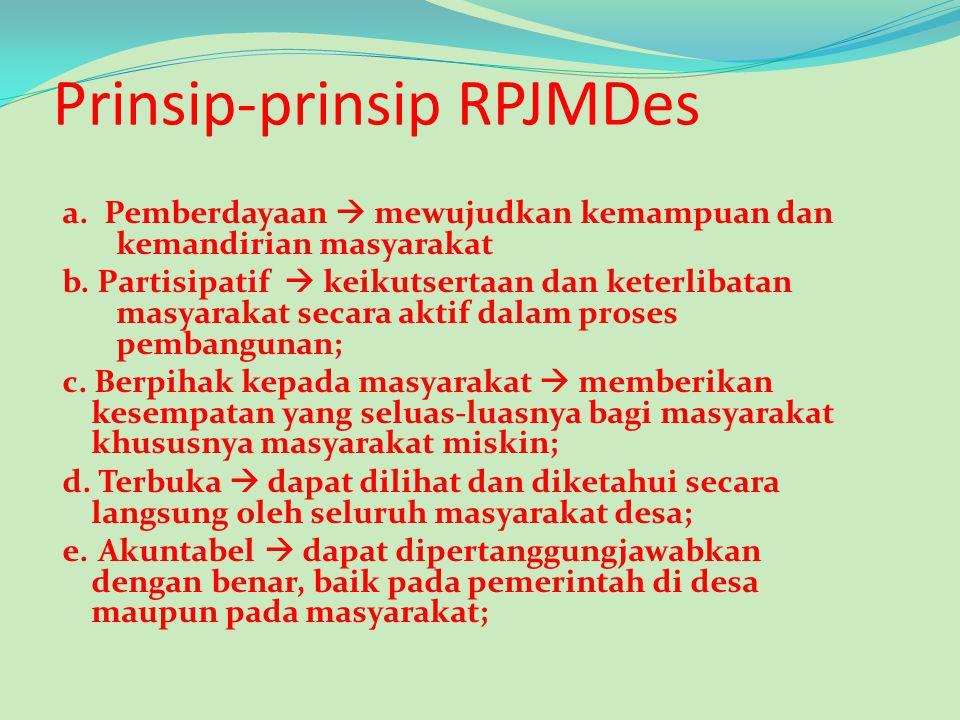 Lanjutan …. RPJMDes adalah dokumen perencanaan untuk periode 5 (lima) tahun yang memuat arah kebijakan pembangunan desa, arah kebijakan keuangan desa,