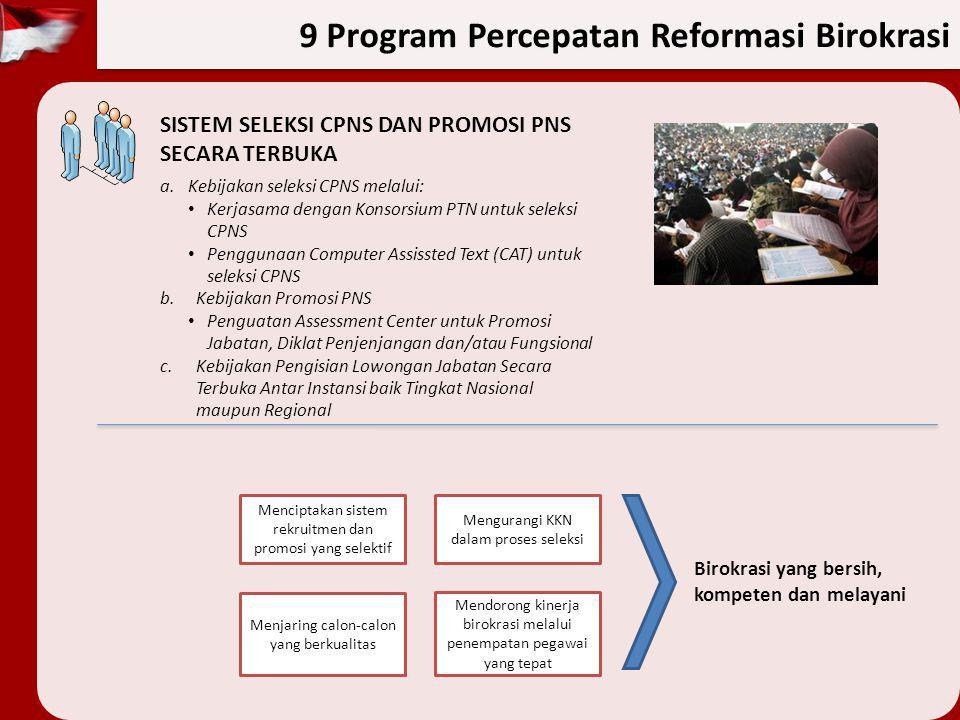9 Program Percepatan Reformasi Birokrasi SISTEM SELEKSI CPNS DAN PROMOSI PNS SECARA TERBUKA a.Kebijakan seleksi CPNS melalui: Kerjasama dengan Konsors