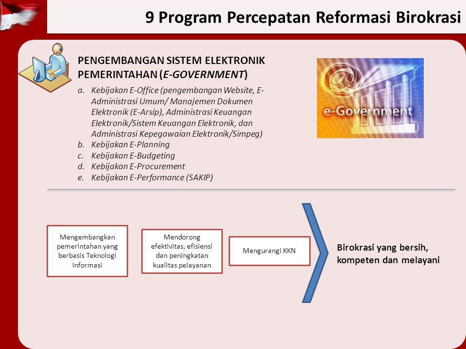 9 Program Percepatan Reformasi Birokrasi PENGEMBANGAN SISTEM ELEKTRONIK PEMERINTAHAN (E-GOVERNMENT) a.Kebijakan E-Office (pengembangan Website, E- Adm