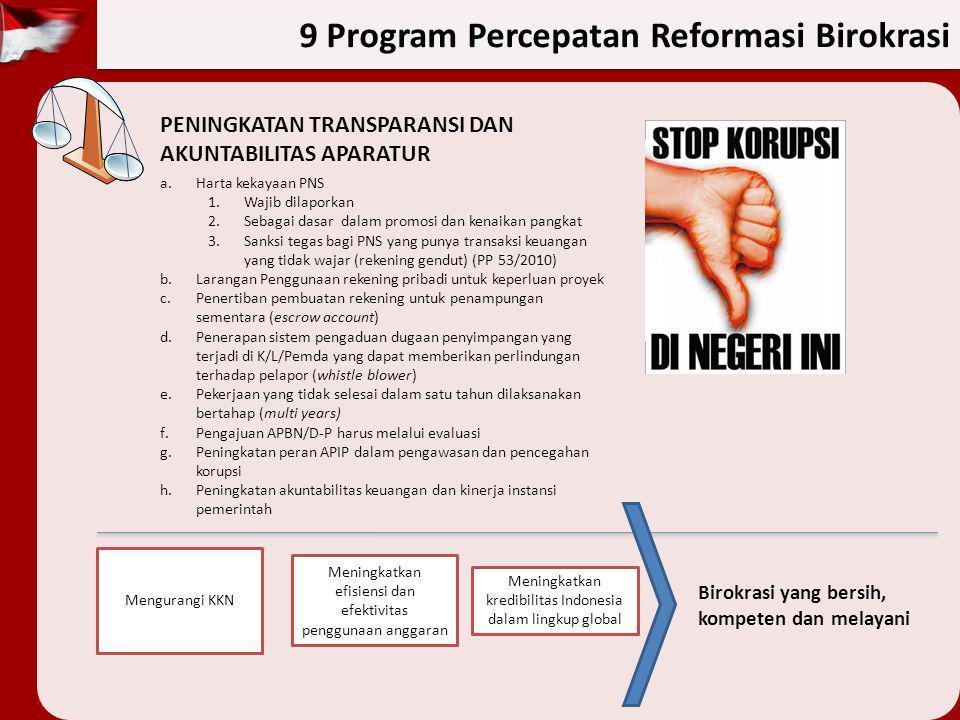 9 Program Percepatan Reformasi Birokrasi PENINGKATAN TRANSPARANSI DAN AKUNTABILITAS APARATUR a.Harta kekayaan PNS 1.Wajib dilaporkan 2.Sebagai dasar d