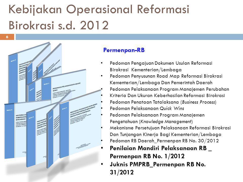 Kebijakan Operasional Reformasi Birokrasi s.d. 2012 Pedoman Pengajuan Dokumen Usulan Reformasi Birokrasi Kementerian/Lembaga Pedoman Penyusunan Road M